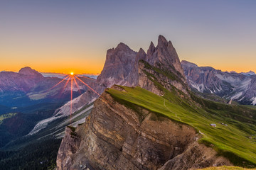 Beautiful sunrise and Odle Mountain landscape in Dolomites, Italy