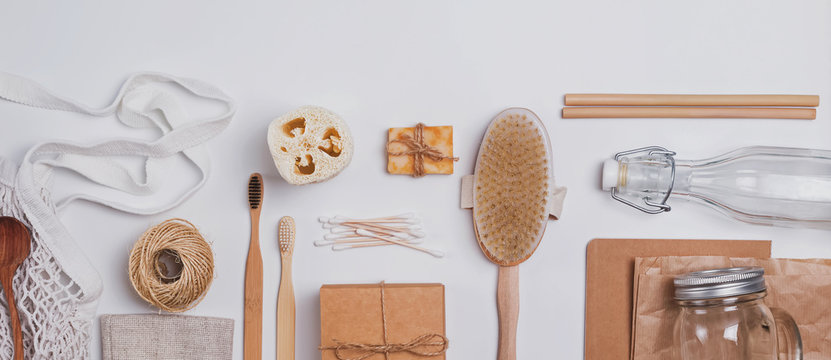 Zero waste concept. Reusable and natural material items for bathroom, kitchen and hygiene