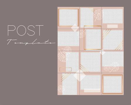 Set of Instagram post collages.Vector cover. Design backgrounds for social media banner.Set of frame templates. Mockup for social media. Endless square pink puzzle layout for promotion.