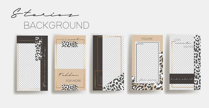 Set of leopard instagram Templates.Vector Layout. Design backgrounds for social media banner.Set of  Instagram stories frame templates. Mockup for social media.