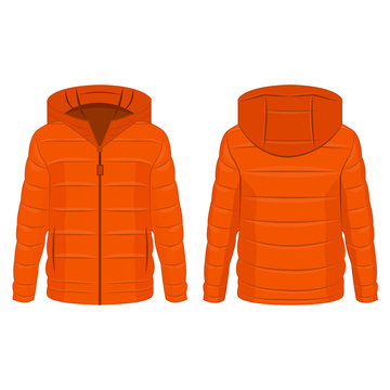 Orange color winter down zipped jacket with hood isolated vector on the white background