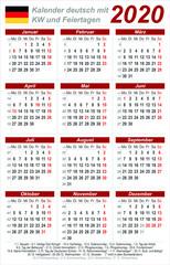 Kalender 2020 - rot - hochkant - deutsch - mit Feiertagen (85 x 54 mm)
