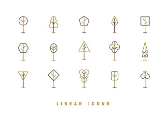 Trees, vector icon set. Collection in linear style, illustration.