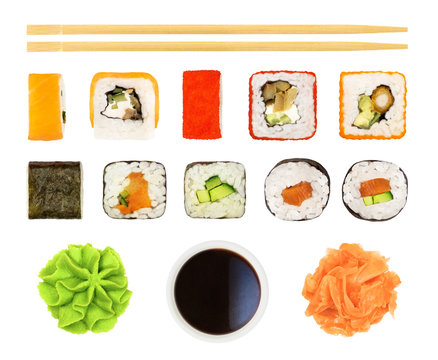 Set of sushi, rolls, soy sauce, chopsticks, etc. isolated on white background