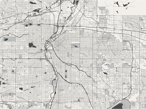 map of the city of Denver, Colorado, USA