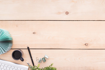 Wall Mural - Top view of wooden workspace with copy space