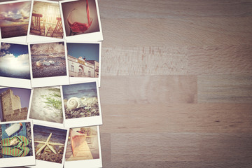 Travel photo collage on wooden background