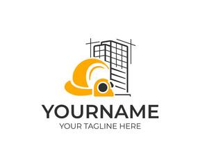 Building construction logo design. Construction helmet and measure tape vector design. Construction site logotype