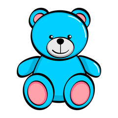 Isolated object on white background. A blue bear, a toy. Raster