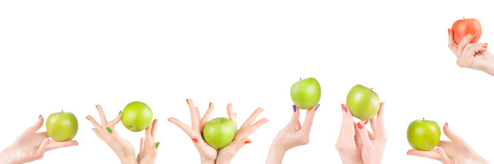 Woman hands with apples set isolated with clipping path