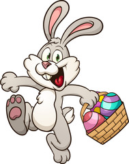 Happy Easter bunny with basket clip art. Vector illustration with simple gradients. All in a single layer.