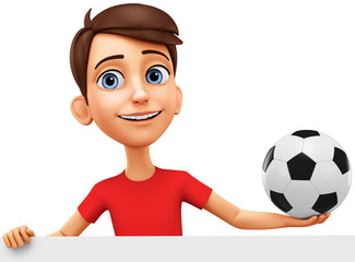 Character cartoon guy with a soccer ball on a white background. 3d rendering. Illustration for advertising.
