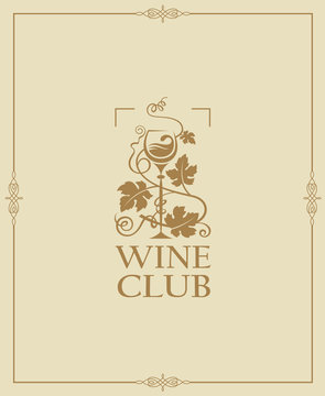 wine club emblem with bottle and glass