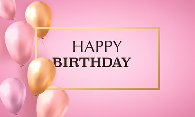 Gold and pink realistic balloons filled with helium on pink background with text happy birthday. Invitation card.