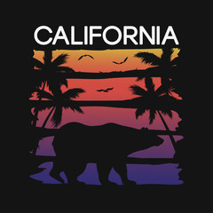 California slogan for t-shirt typography with bear and palm trees silhouettes. Graphics for tee shirt design. Vector illustration.