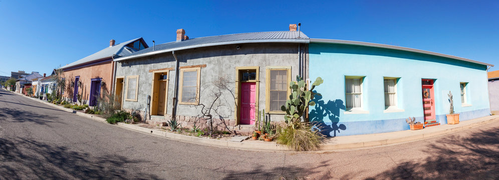 Panorama of Old Tucson adobe home.