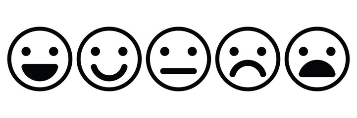 Basic emoticons set. Five facial expression of feedback - from positive to negative. Simple black outline vector icons