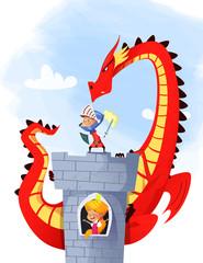Medieval knight and dragon - illustration