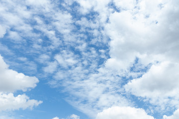 Beautiful blue sky with fluffy clouds on it, sky background