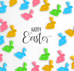 Happy Easter card of colorful candy bunny