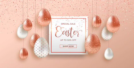 Spring Easter web sale banner with copper egg