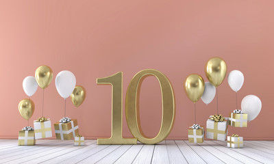 Number 10 birthday party composition with balloons and gift boxes. 3D Rendering