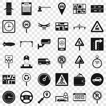 Hard traffic icons set. Simple style of 36 hard traffic vector icons for web for any design