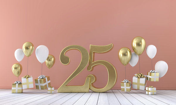 Number 25 birthday party composition with balloons and gift boxes. 3D Rendering