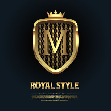 Letter M on the shield with crown isolated on dark background. Golden 3D initial logo business vector template. Luxury, elegant, glamour, fashion, boutique for branding purpose. Unique classy concept