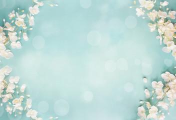 Fototapeta Blue Floral Bokeh Spring Background
