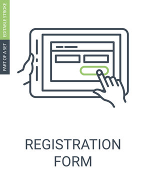 Registration Form Icon with Outline Style and Editable Stroke