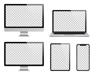 Laptop, computer, tablet, smartphone and monitor set. Realistic vector