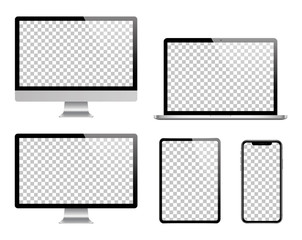 Laptop, computer, tablet, smartphone and monitor set. Vector