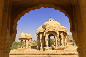 Fototapete - ncient royal cenotaphs and archaeological ruins at Jaisalmer Bada Bagh Rajasthan, India