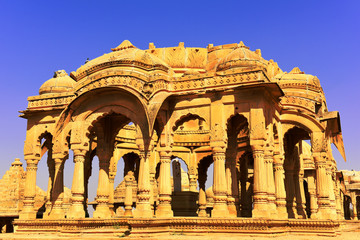 Fotomurales - ncient royal cenotaphs and archaeological ruins at Jaisalmer Bada Bagh Rajasthan, India