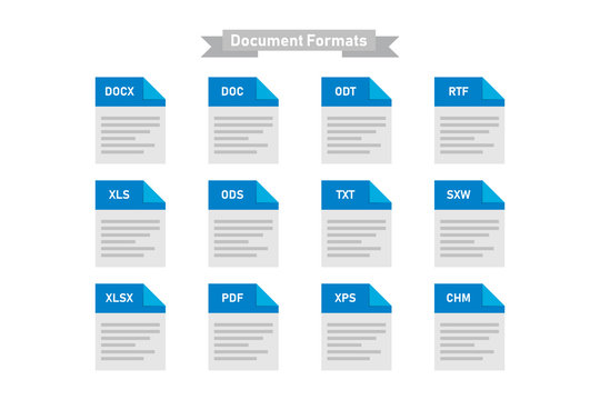 Simple set of types formats of document multimedia isolated icons.