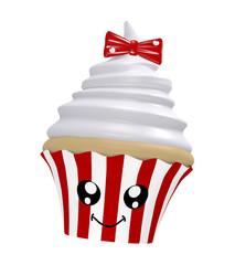 niedlicher Cupcake mit Sahnehaube, roter Schleife und lachendem Gesicht im Kawaii Stil.