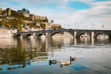 Wall Mural - Historic town of Namur with Old Bridge and river Meuse, Wallonia, Belgium
