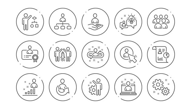 Management line icons. Business people, Algorithm and Group. Startup strategy linear icon set. Line buttons with icon. Editable stroke. Vector