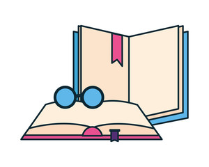 open books with glasses icon