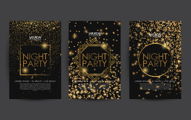 golden night club party poster