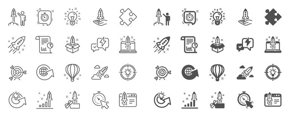 Startup line icons. Launch Project, Business report, Target icons. Strategy, Development plan, Startup space rocket. Air balloon, Out of the Box strategy and Business innovation report. Vector Wall mural