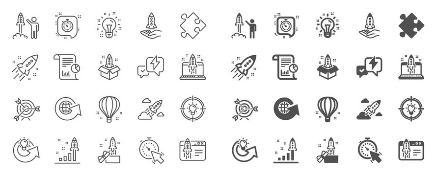 Startup line icons. Launch Project, Business report, Target icons. Strategy, Development plan, Startup space rocket. Air balloon, Out of the Box strategy and Business innovation report. Vector