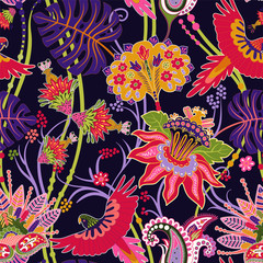 Fotobehang Botanisch Jacobean seamless pattern. Flowers background, decorative style. Stylized climbing flowers. Decorative ornament backdrop for fabric, textile, wrapping paper, card, invitation, wallpaper, web design
