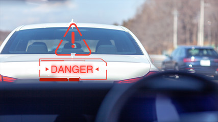 追突 警告 パトカー 自動運転 高級車 ヘッドアップ ディスプレー ドライバー 緊急ブレーキ 止まる 停止 メーカー 法律 義務 Wall mural