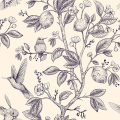 Foto op Aluminium Botanisch Vector sketch pattern with birds and flowers. Hummingbirds and flowers, retro style, nature backdrop. Vintage monochrome flower design for wrapping paper, cover, textile, fabric, wallpaper