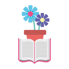 open book with flowerpot isolated icon