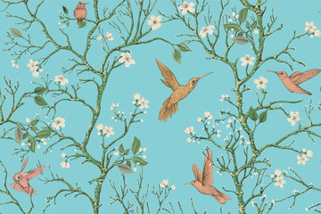 Fotobehang Botanisch Vector colorful pattern with birds and flowers. Hummingbirds and flowers, retro style, floral backdrop. Spring, summer flower design for web, wrapping paper, cover, textile, fabric, wallpaper