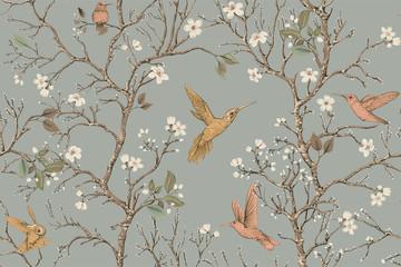 Wektorowy kolorowy wzór z ptakami i kwiatami. Kolibry i kwiaty, w stylu retro, tło kwiatowy. Wiosna, lato kwiat projekt dla sieci, papieru pakowego, okładki, tekstyliów, tkanin, tapet - 257782555