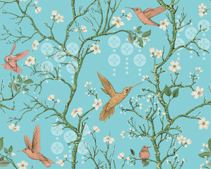 Fotobehang Botanisch Vector colorful pattern with birds and flowers. Hummingbirds and flowers, retro style, floral backdrop. Spring, summer flower design for wrapping paper, cover, textile, fabric, wallpaper